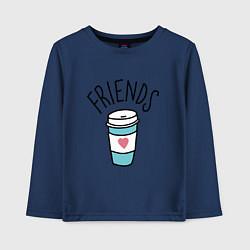 Лонгслив хлопковый детский Best friends цвета тёмно-синий — фото 1