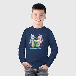Лонгслив хлопковый детский Семья снеговиков цвета тёмно-синий — фото 2