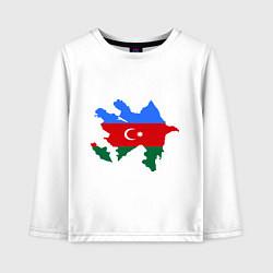Лонгслив хлопковый детский Azerbaijan map цвета белый — фото 1