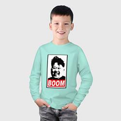Лонгслив хлопковый детский BOOM: Kim Chen Eun цвета мятный — фото 2