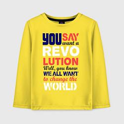 Лонгслив хлопковый детский The Beatles Revolution цвета желтый — фото 1