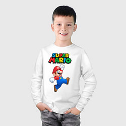 Лонгслив хлопковый детский Super Mario цвета белый — фото 2