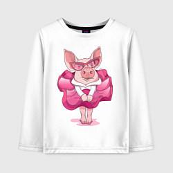 Лонгслив хлопковый детский Мисс Свинка цвета белый — фото 1