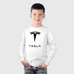 Лонгслив хлопковый детский TESLA Mobile цвета белый — фото 2