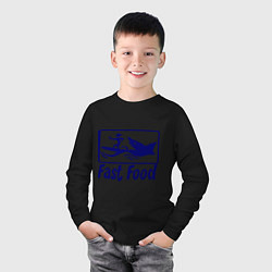 Лонгслив хлопковый детский Shark fast food цвета черный — фото 2