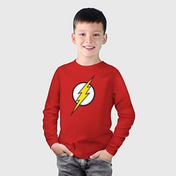 Лонгслив хлопковый детский Flash цвета красный — фото 2