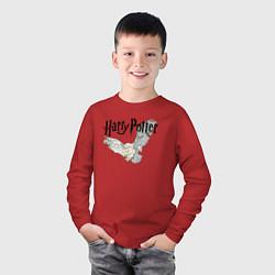 Лонгслив хлопковый детский Гарри Поттер: Букля цвета красный — фото 2