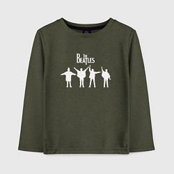 Лонгслив хлопковый детский Beatles цвета меланж-хаки — фото 1