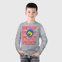 Лонгслив хлопковый детский Spaceship цвета меланж — фото 2