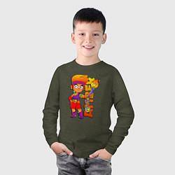 Лонгслив хлопковый детский Brawl Stars - Amber цвета меланж-хаки — фото 2