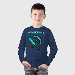 Лонгслив хлопковый детский Minecraft цвета тёмно-синий — фото 2