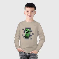 Лонгслив хлопковый детский Creeper Inside цвета миндальный — фото 2