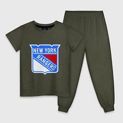 Пижама хлопковая детская New York Rangers цвета меланж-хаки — фото 1