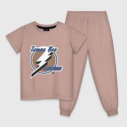 Пижама хлопковая детская Tampa Bay цвета пыльно-розовый — фото 1
