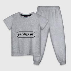 Пижама хлопковая детская Prodigy лого с муравьем цвета меланж — фото 1