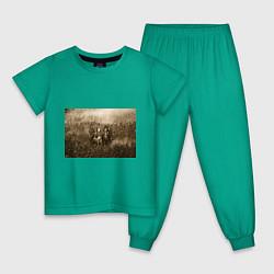 Пижама хлопковая детская Slipknot Sepia цвета зеленый — фото 1