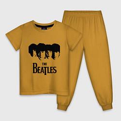 Пижама хлопковая детская The Beatles: Faces цвета горчичный — фото 1