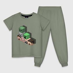 Пижама хлопковая детская Minecraft Cube's цвета авокадо — фото 1