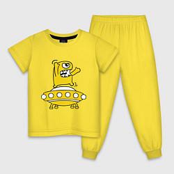Пижама хлопковая детская Пришелец Саня цвета желтый — фото 1