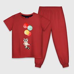 Пижама хлопковая детская Енот на шариках цвета красный — фото 1
