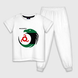 Пижама хлопковая детская Ingushetia Eagle цвета белый — фото 1