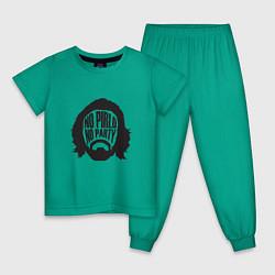 Пижама хлопковая детская No Pirlo, No Party цвета зеленый — фото 1