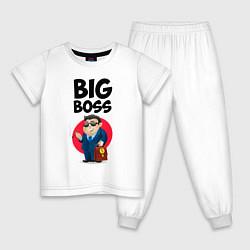 Пижама хлопковая детская Big Boss / Начальник цвета белый — фото 1