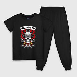 Пижама хлопковая детская Megadeth Rocker цвета черный — фото 1