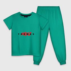 Пижама хлопковая детская Thomas Mraz цвета зеленый — фото 1