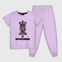 Пижама хлопковая детская Keep Calm & Listen Die Antwoord цвета лаванда — фото 1