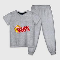Пижама хлопковая детская Yupi цвета меланж — фото 1