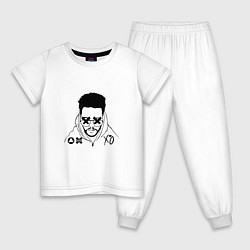 Пижама хлопковая детская The Weeknd цвета белый — фото 1