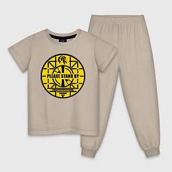 Пижама хлопковая детская Fallout: Please stand by цвета миндальный — фото 1