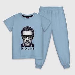 Пижама хлопковая детская MD House Style цвета мягкое небо — фото 1