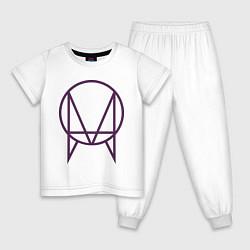 Пижама хлопковая детская Skrillex Symbol цвета белый — фото 1