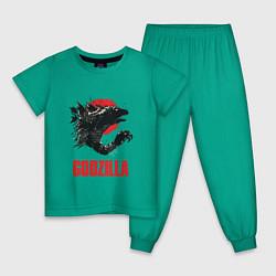 Пижама хлопковая детская Godzilla: Red Sun цвета зеленый — фото 1