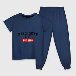 Пижама хлопковая детская FC Manchester City Est. 1880 цвета тёмно-синий — фото 1