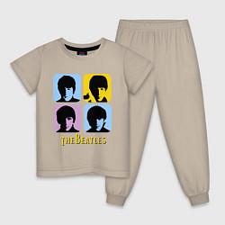 Пижама хлопковая детская The Beatles: pop-art цвета миндальный — фото 1