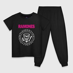 Пижама хлопковая детская Ramones Boyband цвета черный — фото 1