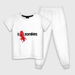 Пижама хлопковая детская I love zombies цвета белый — фото 1