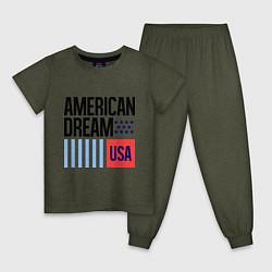 Пижама хлопковая детская American Dream цвета меланж-хаки — фото 1