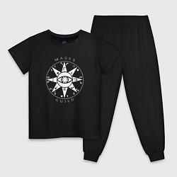 Пижама хлопковая детская TES: Mages Guild цвета черный — фото 1