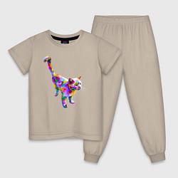 Пижама хлопковая детская Кот цвета миндальный — фото 1