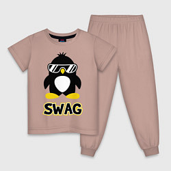 Пижама хлопковая детская SWAG Penguin цвета пыльно-розовый — фото 1