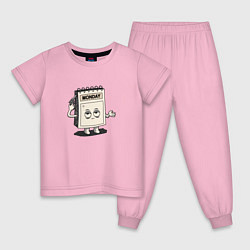 Пижама хлопковая детская Monday цвета светло-розовый — фото 1