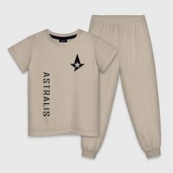 Пижама хлопковая детская Astralis GG цвета миндальный — фото 1
