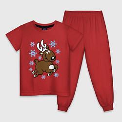 Пижама хлопковая детская Олень и снежинки цвета красный — фото 1