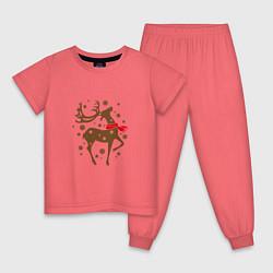 Пижама хлопковая детская Олень с шарфом цвета коралловый — фото 1