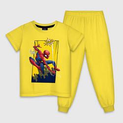 Пижама хлопковая детская Comics Spider-Man цвета желтый — фото 1