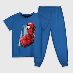 Пижама хлопковая детская Человек-паук и город цвета синий — фото 1